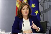 La vicepresidenta del Gobierno, en la rueda de prensa posterior al Consejo de Ministros (Foto: Pool Moncloa)
